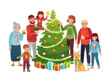 Cartoon Christmas Family Portrait. Xmas Tree Decorations, Happy People And Big Family Decorated Christmas Tree. New Year 2020 Holiday Characters Portrait Postcard Vector Illustration