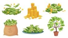 Cartoon Cash. Green Dollar Ban...