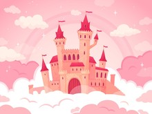 Cartoon Castle In Pink Clouds....