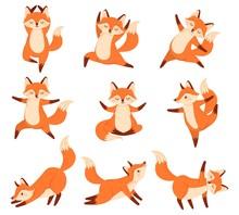 Cartoon Fox In Yoga Poses. Hea...
