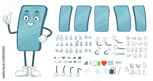 Obraz Cartoon smartphone mascot. Funny mobile phone character, smartphones screen with face legs and arms. Tablet gadget device display body constructor. Isolated vector illustration symbols bundle - fototapety do salonu