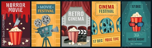 Obraz Movie poster. Horror film, cinema camera and retro movies night posters template. Old movie festival invitations cards, cinematography ticket or brochure vector illustration set - fototapety do salonu