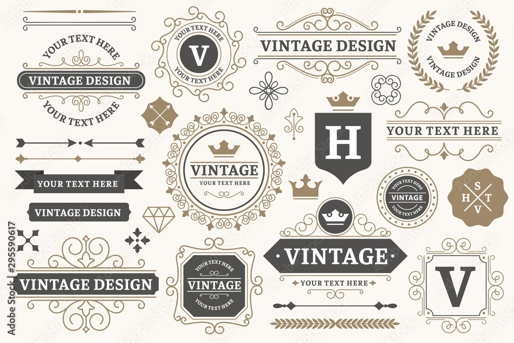 Fototapeta Vintage sign frames. Old decorative frame design, retro ornate label elements and luxurious vintage borders. Premium certificate badge, victorian elegant tag. Isolated vector symbols set