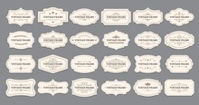 Ornamental Label Frames. Old Ornate Labels, Decorative Vintage Frame And Retro Badge. Royal Wedding Insignia, Sale Sticker Or Invitation Card. Isolated Vector Symbols Set