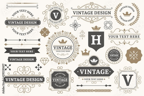 Obraz Vintage sign frames. Old decorative frame design, retro ornate label elements and luxurious vintage borders. Premium certificate badge, victorian elegant tag. Isolated vector symbols set - fototapety do salonu