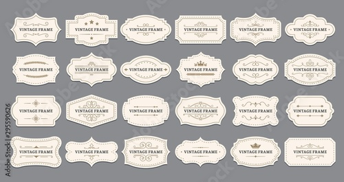 Leinwand Poster Ornamental label frames