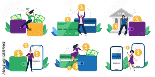 Fototapeta Money transfers. People sent money from wallet to bank card, mobile payments and financial transactions. Work transfer credit card process payment. Flat isolated vector illustration icons set obraz