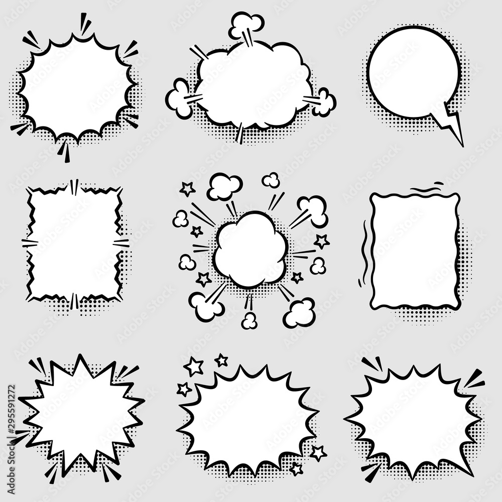 Fototapeta Set of Angry Comic Speech Bubbles