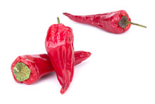 Dried Red Chili Or Chilli Cayenne Pepper Isolated On White Background Cutout Closeup