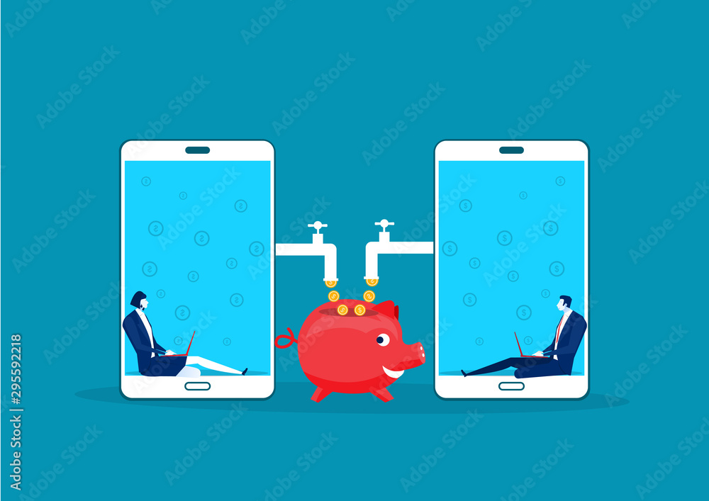 Fototapety, obrazy: two business sitting in laptop mobile with made coins working passive income concept vector.