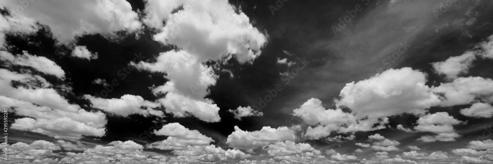 Fototapeta Black sky white cloud, Cloudscape black and white image