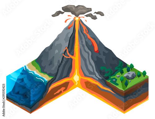 Volcano structure concept banner Wallpaper Mural