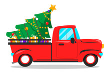 Red Christmas Truck And Tree With Gifts Inside.