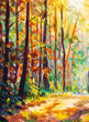 Oil painting sunny Autumn forest. Fall nature. Autumn warm picturesque vertical background. Forest with mist and sunlight illustration.