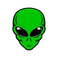 Illustration Of Alien Head Isolated White Background. Design Element For Logo, Label, Badge, Sign. Vector Illustration