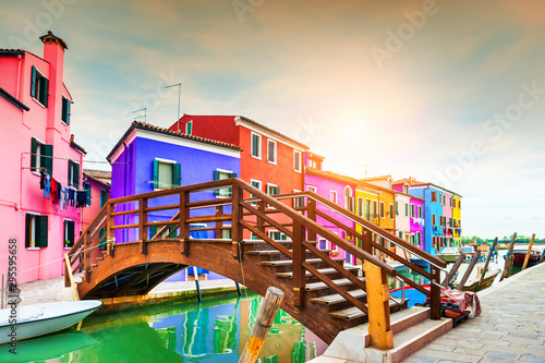 Fototapety, obrazy: Colorful houses on the canal in Burano island, Venice, Italy. Famous travel destination