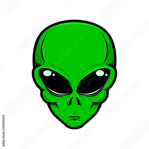 Photographie Illustration of alien head isolated white background