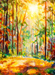 Vertical oil painting Autumn forest. Fall background illustration. Autumn landscape art. Sunny forest with sunlight. Fall trees with colorful leaves.