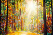 Fall acrylic painting. Fall forest art. Forest landscape illustration. Autumn nature artwork. Sunshine in forest. Sun shines through trees. Path in natural park with autumn trees.
