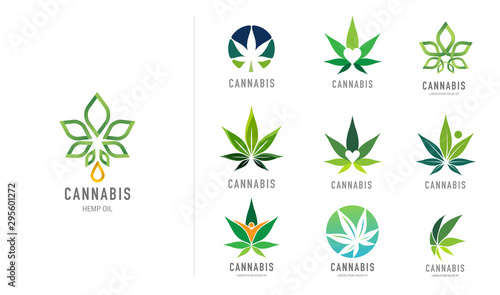 Photo Cannabis leaf, medical marijuana, CBD oil, symbol and logo