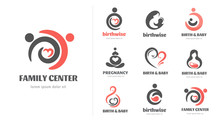 Birth, Pregnancy, Family And Baby Care Logos And Symbol Collection. Vector Design