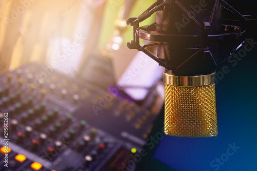 Vászonkép  Golden condenser microphone and equipment for recording music, lectures, storytelling, sound The concept of creating multimedia in teaching and learning