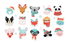 Collection Of Christmas Cute Animals, Merry Christmas Illustrations Of Panda, Fox, Llama, Sloth, Cat And Dog With Winter Accessories
