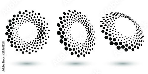 Pinturas sobre lienzo  Halftone circle frame, abstract dots logo emblem design element for any project