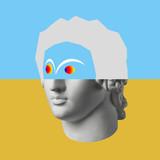 Kolaż koncepcyjny sztuki współczesnej z zabytkową głową w surrealistycznym stylu. Nowoczesna sztuka niezwykła. - 295603427
