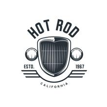 Hot Rod Emblem, Logo, Banner. Vintage T-shirt Print