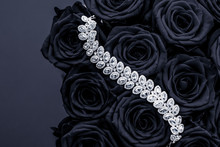 Luxury Diamond Jewelry Bracelet And Black Roses Flowers, Love Gift On Valentines Day And Jewellery Brand Holiday Background Design