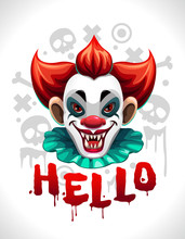 Scary Bad Clown Face. Cool Creepy Illustration For T-shirt Design.