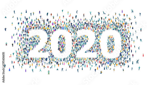Fototapeta New Year 2020 concept illustration. 2020 made of many little people in business and casual clothes. Living, working and celebrating together.  obraz