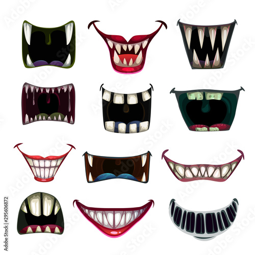 Creppy fantasy monsters mouth set. Vector scary jaws collection. Fototapeta
