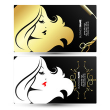 Girl Profile Golden Business Card For Beauty Salon And Hairdresser
