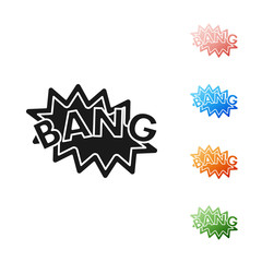 Black Bang boom, gun Comic text speech bubble balloon icon isolated on white background. Set icons colorful. Vector Illustration