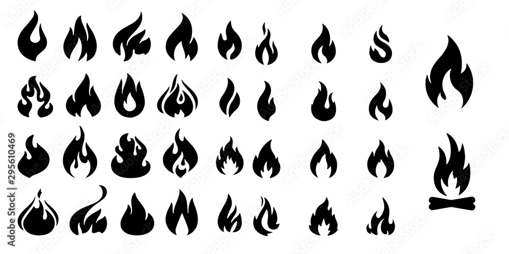 Fototapeta Fire flames Set vector icons isolated on white background