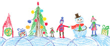 Like Child Hand Drawing Christmas Space Seamless Border. Crayon, Pastel Chalk Or Pencil Funny Sketch Doodle Tree, Ball, Snowman, Kid, Boy, Gift Box, Snow, Hut. Vector Background Simple Style.