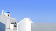 Santorini Blue Dome And Whitew...