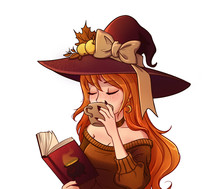 Young Witch Is Drinking Coffee...