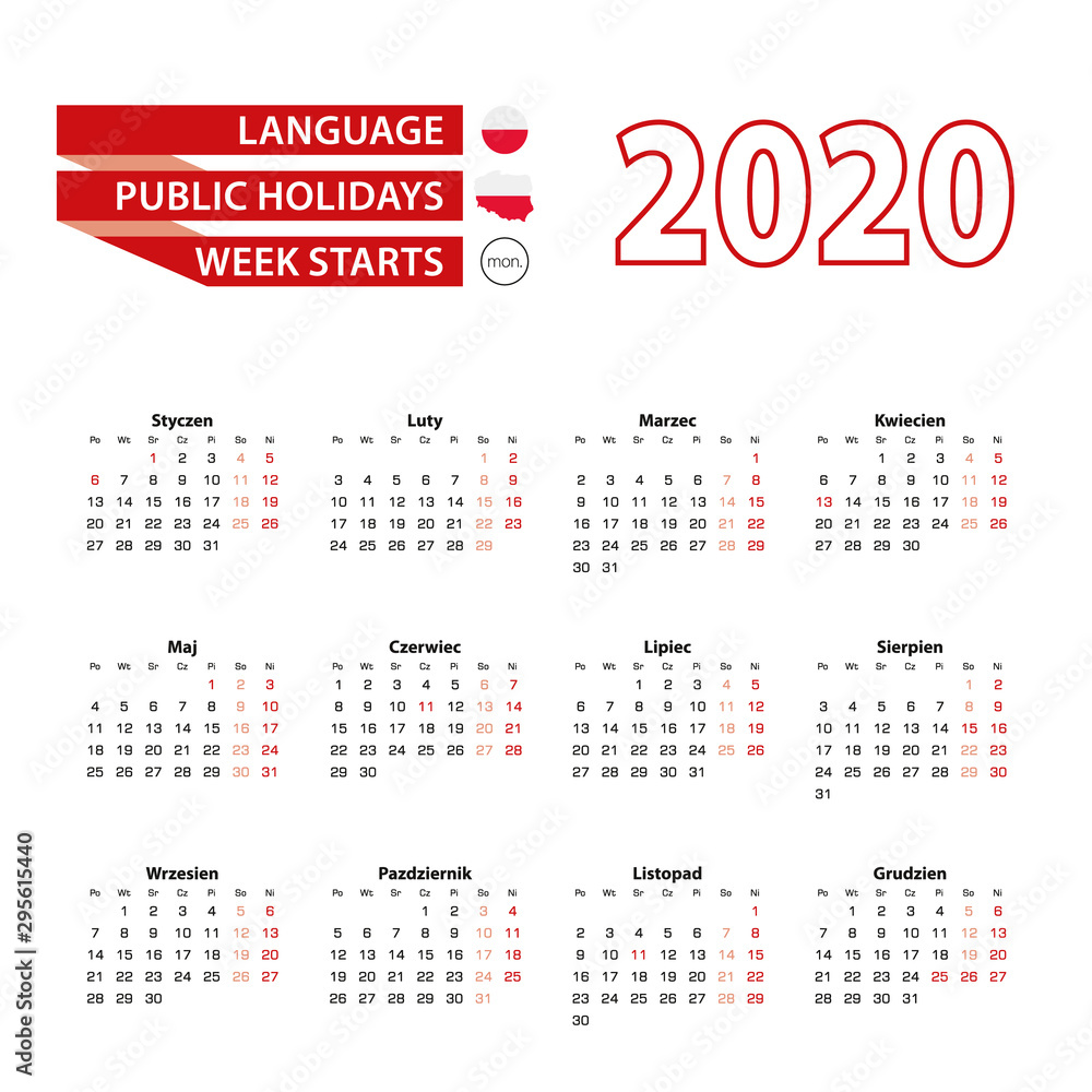 Fototapety, obrazy: Calendar 2020 in Polish language with public holidays the country of Poland in year 2020.