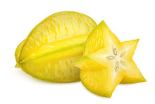 Carambola, Starfruit, Isolated On White Background, Clipping Path, Full Depth Of Field