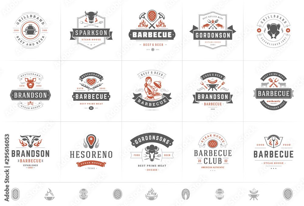 Fototapeta Grill and barbecue logos set vector illustration steak house or restaurant menu badges with bbq food silhouettes
