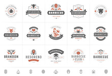 Grill And Barbecue Logos Set V...