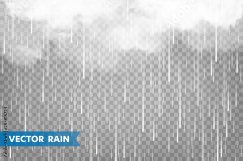 Fotografia Realistic rain with clouds on transparent background