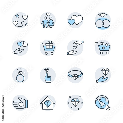 Autocollant pour porte Creatures International Jeweler Day Set Line Vector Icons. Contains such Icons as Love, Heart, Hand, Family, Wedding Rings, Diamond, Jewelry store, Gift, Basket and more. Editable Stroke. 32x32 Pixel Perfect