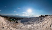 Pamukkale Mineral-rich Thermal Waters Flowing Down White Travertine Terraces, Turkey
