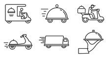 City Food Delivery Service Icons Set. Outline Set Of City Food Delivery Service Vector Icons For Web Design Isolated On White Background