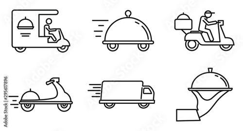 Fotografía City food delivery service icons set
