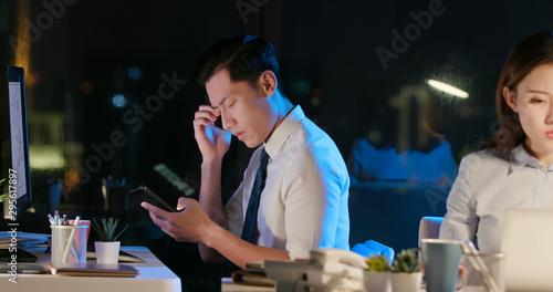 Fotografia  asian businessman feel eye pain